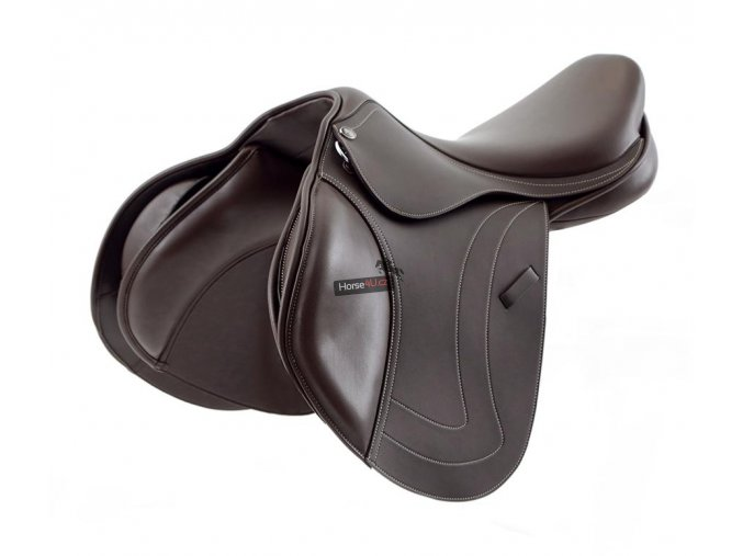 SS20 Prideaux Synthetic Close Contact Jump Saddle Brown 3 4 Front 72 RGB zoo