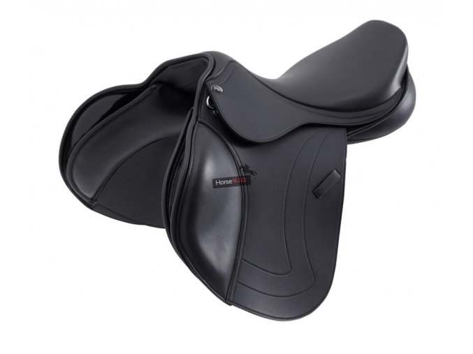 SS20 Prideaux Synthetic Close Contact Jump Saddle Black 3 4 Front NEW 72 RGB