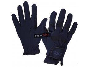 Jezdecké rukavice QHP Dark Blue