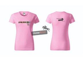 Dámské tričko Horse4Urider s lemem Světle růžové