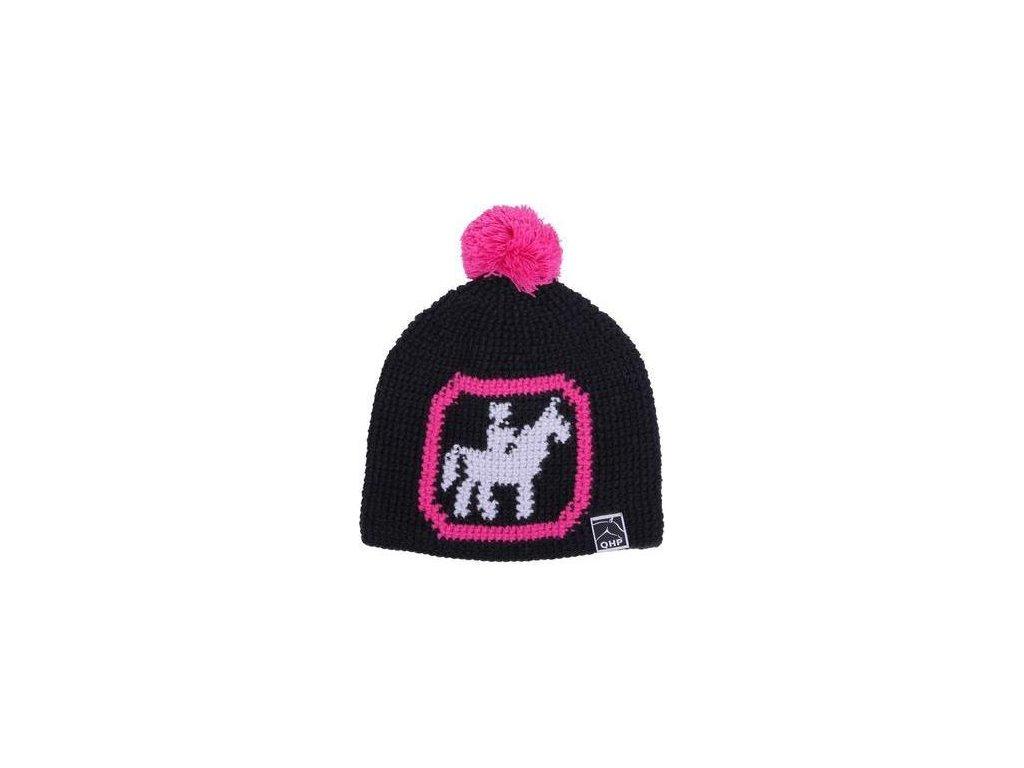 Čepice pletená Beanie QHP, black pink rider