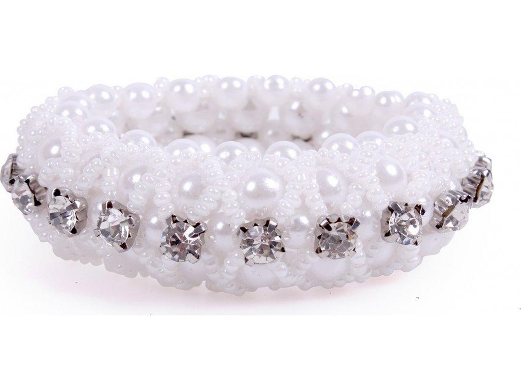 Gumička do vlasů Diamond QHP, bílá