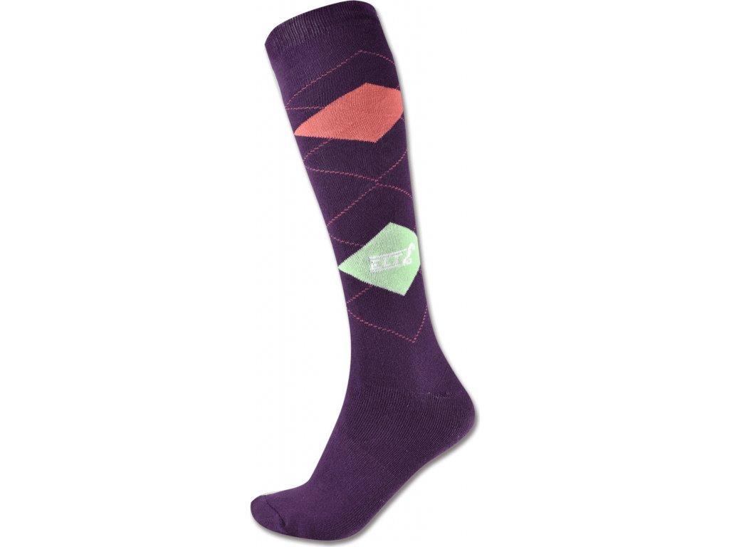 Podkolenky Karo ELT, violet/pastel green