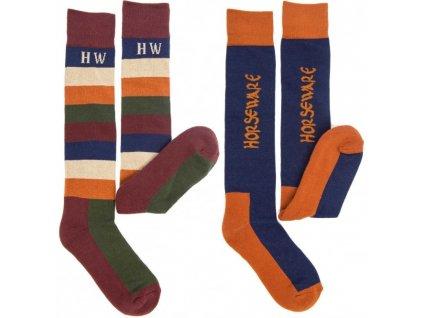 horseware polo winter socks 2pk parisian blue 36 41 p4334 12266 medium