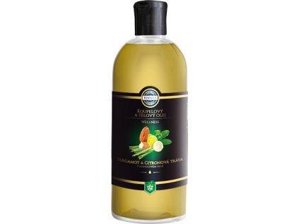 Koupelový olej - Bergamot a citronová tráva v mandlovém oleji, 500ml, TOPVET