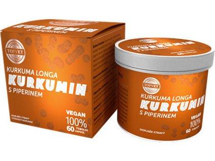 Bylinný extrakt - Kurkumin s piperinem, 60tbl, TOPVET