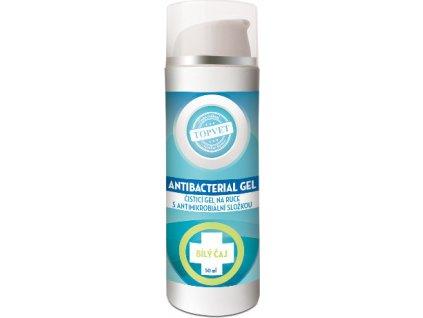 Dezinfekční antimikrobiální gel na ruce, 62% lihu - Bilý čaj, 50ml, TOPVET