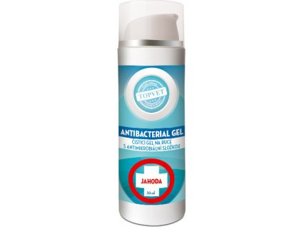 Dezinfekční antimikrobiální gel na ruce, 62% lihu - Jahoda, 50ml, TOPVET