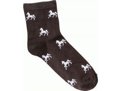 Ponožky kotníkové s koníky USG, hnědé