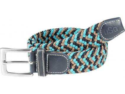 Pásek pletený Casual USG, turquoise/navy/brown