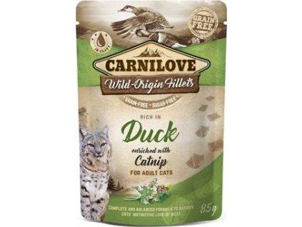 Kapsička pro kočky Carnilove Pouch Duck Enriched & Catnip, 85g