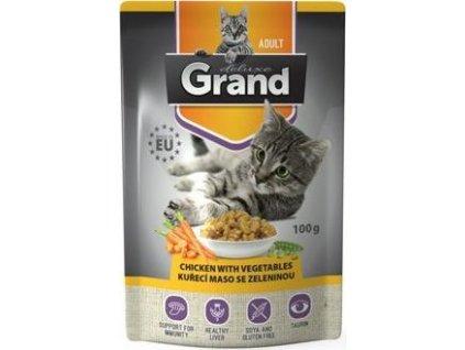 GRAND kaps. deluxe kočka 100% kuřecí se zel.100g
