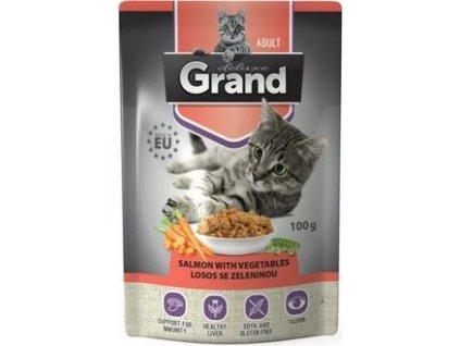Kapsička pro kočky losos se zeleninou GRAND deluxe, 100g