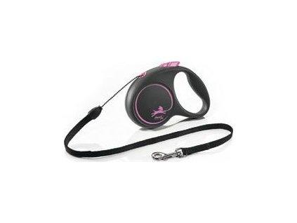 Vodítko Black Design Flexi,  S lanko, 5m/12kg, pink