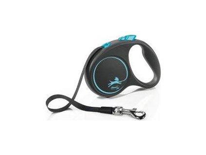 Vodítko Black Design Flexi, S pásek, 5m/15kg, blue