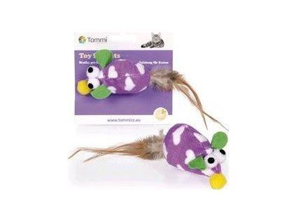 Hračka kočka Myška plyšová fialová 8cm