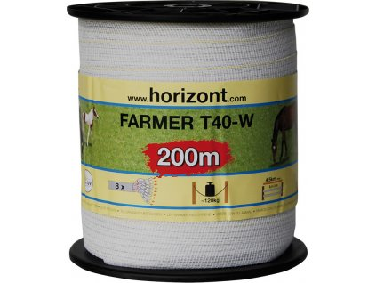 Páska k elektrickému ohradníku FARMER, T20-W/T40-W, 200m