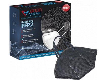 Respirátor FFP2 GOOD MASK, 10ks, černý