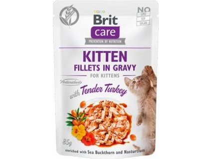Kapsička kočičí Brit Care Cat Fillets Gravy Kitten Tender Turkey 85g