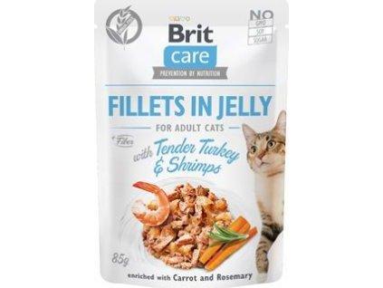 Filetky kočičí Brit Care Cat Fillets in Jelly with Turkey&Shrimps, 85g