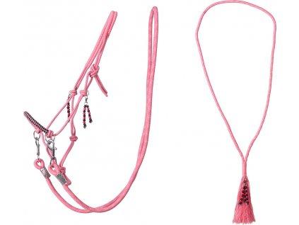 Provazový set na ježdění Liberty QHP, flamingo pink