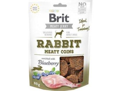 Pochoutka pro psy Brit Jerky Rabbit Meaty Coins, 80g