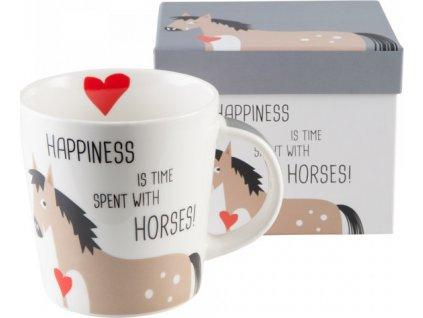 Hrníček v dárkové krabičce 'Happiness & Horses' PFIFF, bílý