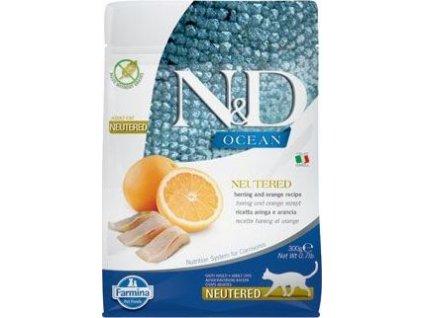 Granule pro kočky OCEAN NEUTERED Adult Herring & Orange N&D, 300g