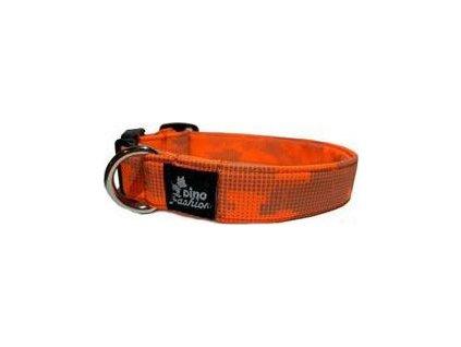 Obojek pro psy DINOFASHION reflex, softshell, 45/3cm, orange/gray