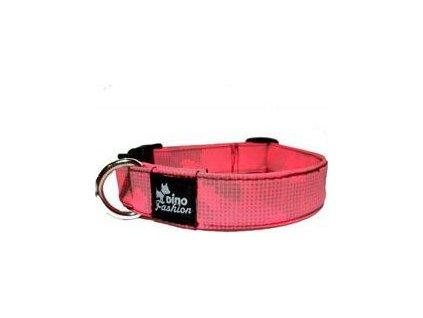 Obojek pro psy DINOFASHION reflex, softshell, 45/3cm, pink/gray