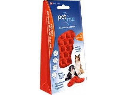 Kartáč na dlouhou srst pro psy PET and ME, red