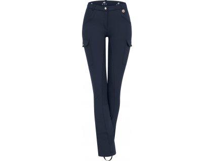 Jezdecké kalhoty Cargo Silicone Micro ELT s gripem, dámské, night blue