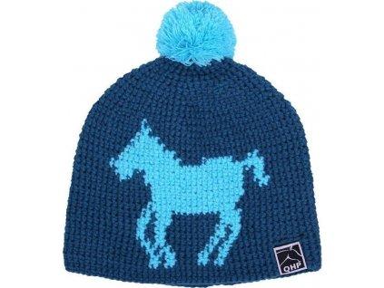 Čepice pletená Beanie QHP, blue horse