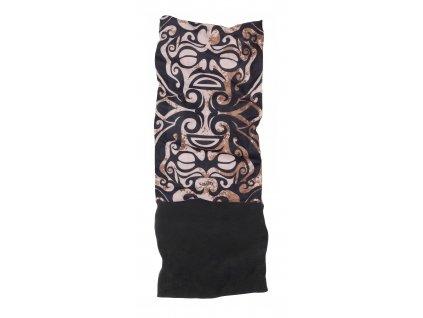 Multifunkční šátek s fleecem MATT,  brown/beige