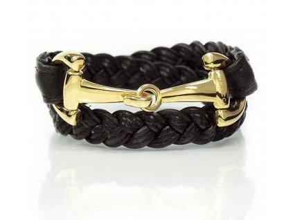 Náramek ALBA DIMACCI, pletený, black, gold