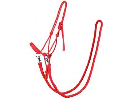 Ohlávka provazová s otěžemi QHP, bright red