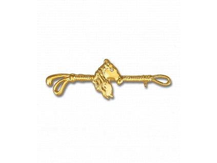 Plastronový špendlík koňská hlava Waldhausen, zlatý