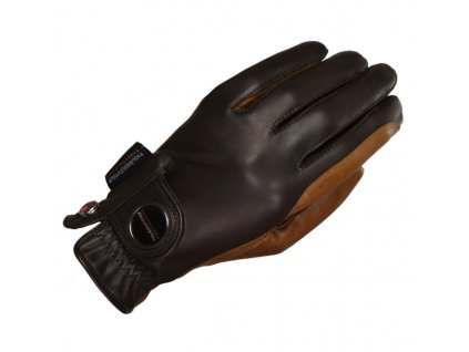 Rukavice jezdecké Ladies Finest Haukeschmidt, černé/karamelové
