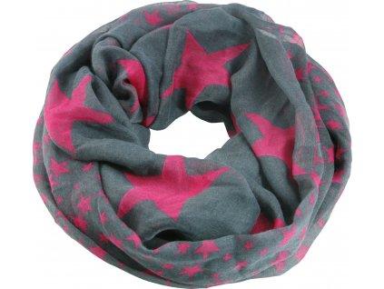 Šátek USG, grey with pink col. stars