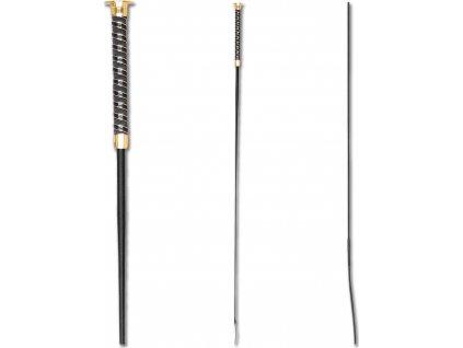 Bič drezurní 110cm/120cm Waldhausen, černý/zlatý