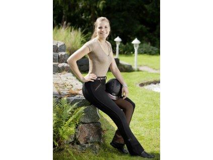 Kalhoty jezdecké Birgit USG s celokoženým sedem, dámské, black/brown