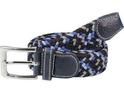 Pásek pletený USG, navy/grey/blue