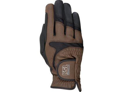 Rukavice jezdecké Touch Rotterdam RSL, black/brown