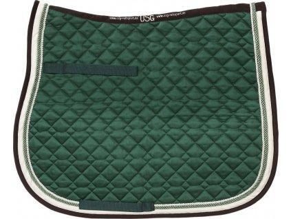 Dečka podsedlová prošívaná USG, dark green/ecru/brown