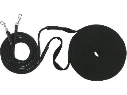 Dvojité lonžovací otěže 16m USG, black
