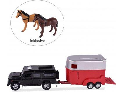 Auto s přepravníkem - NATAHOVACÍ, včetně 2 koní, ČERNÉ