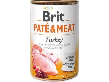 Konzerva pro psy Paté & Meat Turkey Brit, 400g