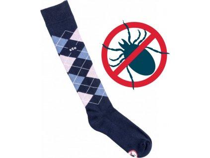 Podkolenky Caro Anti Tick USG, proti klíšťatům, navy/offwhite/jeans/pink