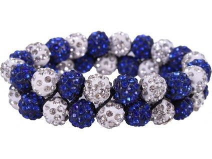 Gumička do vlasů Gloss QHP, white/cobalt blue