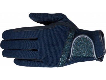 Rukavice jezdecké Glamour PFIFF, tmavě modré